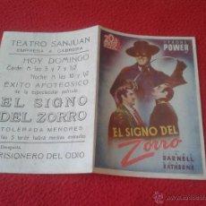 Cine: ANTIGUO FOLLETO DE CINE DOBLE DE MANO PUBLICIDAD CINE ECIJA EL SIGNO DEL ZORRO TYRONE POWER RATHBONE. Lote 50555358