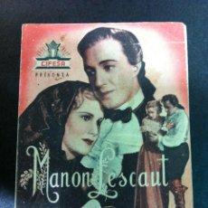 Cine: MANON LESCAUT CIFESA - FOLLETO DE MANO DOBLE ORIGINAL ESTRENO. Lote 50559626