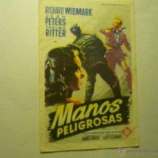 Cine: PROGRAMA MANOS PELIGROSAS - RICHARD WIDMARK -PUBLICIDAD SALA ARGENTONA Y GLORIA. Lote 50561315