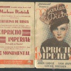 Cine: CAPRICHO IMPERIAL PROGRAMA DOBLE DE PARAMOUNT CON PUBLICIDAD 1935 MARLENE DIETRICH. Lote 50583629