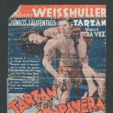 Cine: PROGRAMA DOBLE TARZAN Y SU COMPAÑERA JOHNNY WEISSMULLER MAUREEN O'SULLIVAN. CINE OLYPIA 1935. Lote 50583777