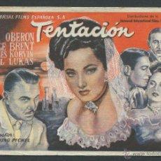 Cine: PROGRAMA TENTACION PROGRAMA UNIVERSAL MERLE OBERON GEORGE BRENT NO ESTRENADA. Lote 50583792