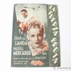 Cine: PROGRAMA DE MANO DE LA FUERZA BRUTA SIN IMPRESION DE CINE. JUAN DE LANDA Y MARIA MERCADER.. Lote 50629225