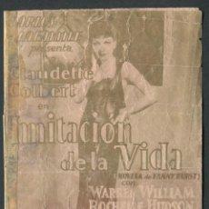 Cinema - IMITACION DE LA VIDA, UNIVERSAL, PROGRAMA CINE, DOBLE, CLAUDETTE COLBERT, 1930 PUBLICIDAD - 50651628