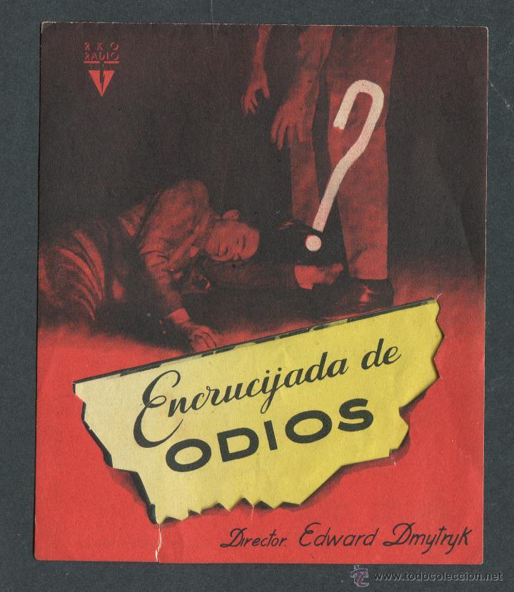 ENCRUCIJADA DE ODIOS PROGRAMA DOBLE TROQUELADO RKO ROBERT MITCHUM GLORIA GRAHAME (Cine - Folletos de Mano - Aventura)