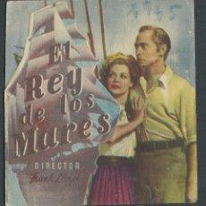 Cine: EL REY DE LOS MARES - JOHN CARROLL, WALTER BRENNAN - PROGRAMA TROQUELADO - CON PUBLICIDAD. Lote 50658601