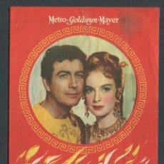 Cine: PROGRAMA DOBLE TROQUELADO DE QUO VADIS METRO GOLDWYN MAYER ROBERT TAYLOR, DEBORAH KERR, PETER USTINO. Lote 50658924