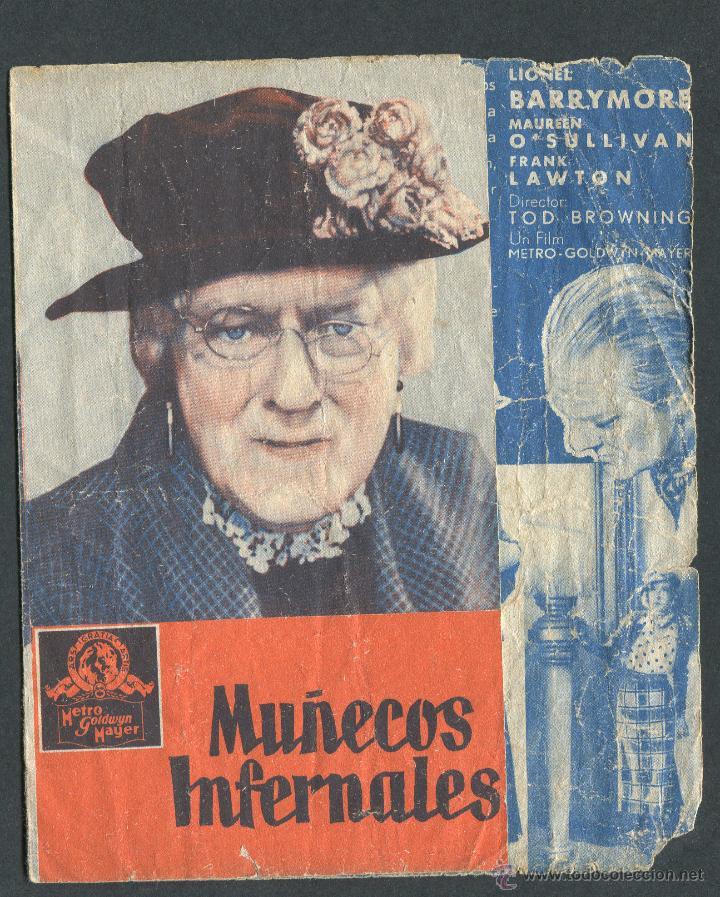 MUÑECOS INFERNALES PROGRAMA DOBLE MGM TOD BROWNING LIONEL BARRYMORE MAUREEN O'SULLIVAN PUBLICIDAD (Cine - Folletos de Mano - Terror)