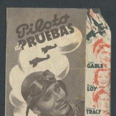 Cine: PROGRAMA DOBLE PILOTO DE PRUEBAS CLARK GABLE MYRNA LOY SPENCER TRACY . Lote 50659781