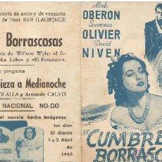 Cine: PROGRAMA DOBLE CINE MODERNO BAÑOLAS 1945 CUMBRES BORRASCOSAS LAURENCE OLIVIER MERLE OBERON. Lote 50667221