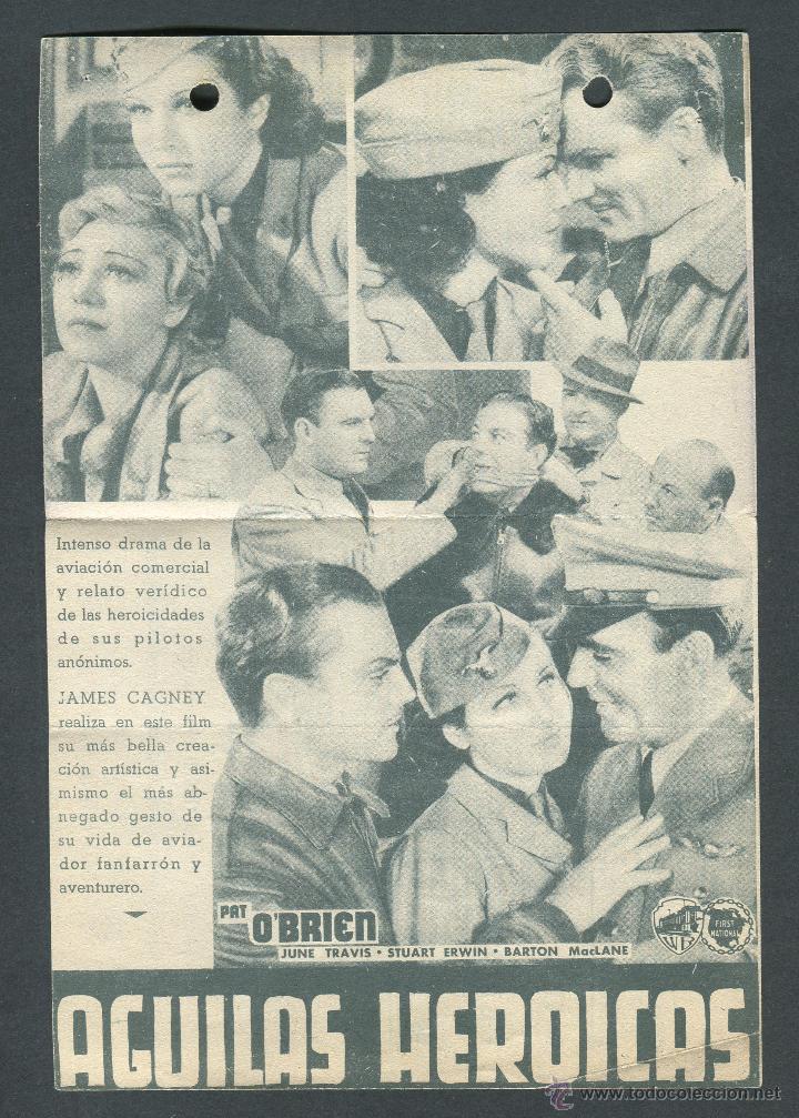 Cine: AGUILAS HEROICAS PROGRAMA DOBLE WARNER JAMES CAGNEY PAT OBRIEN HOWARD HAWKS. PUBLICIDAD - Foto 2 - 50704909