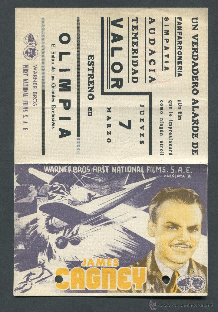 Cine: AGUILAS HEROICAS PROGRAMA DOBLE WARNER JAMES CAGNEY PAT OBRIEN HOWARD HAWKS. PUBLICIDAD - Foto 3 - 50704909