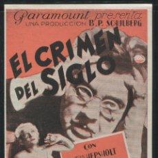 Cine: PROGRAMA EL CRIMEN DEL SIGLO , PARAMOUNT , DOBLE , CINE IMPRESO AL DORSO.. Lote 50705274