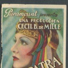 Cine: CLEOPATRA PROGRAMA DOBLE PARAMOUNT CLAUDETTE COLBERT CECIL B. DEMILLE. Lote 173621657