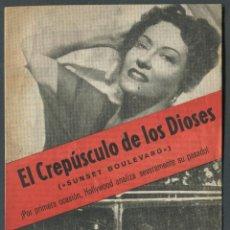 Cine: EL CREPUSCULO DE LOS DIOSES PROGRAMA ORIGINAL CON PUBLICIDAD IMPECABLE ESTADO DOBLE GLORIA SWANSON. Lote 50725764