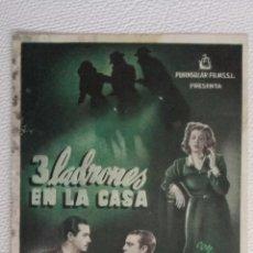 Cine: 3 LADRONES EN LA CASA, PUBLICIDAD CINEMA PROYECCIONES. Lote 50756174