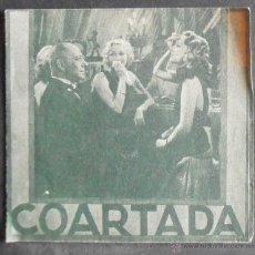 Cine: COARTADA,FOLLETO DE MANO (10832),CONSERVACION,VER FOTOS. Lote 50762161