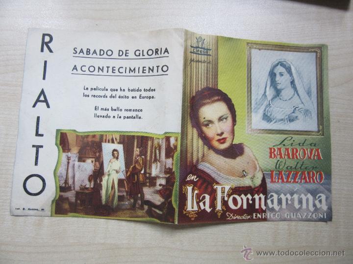 Cine: La Fornarina Lida Baarova y Walter Lázaro 1944 Díptico estreno Cine Rialto (Madrid) - Foto 2 - 50762826