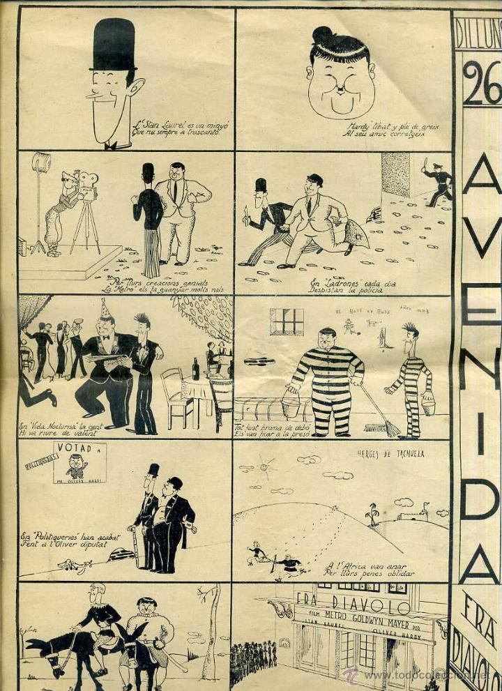 PUBLICIDAD ESTRENO EN BARCELONA FRA DIAVOLO LAUREL & HARDY (C. 1934) AUCA ALELUYA EN VERSO (Cine - Folletos de Mano - Comedia)