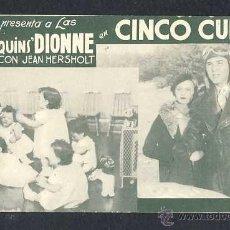Cine: PROGRAMA DE CINE CINCO CUNITAS. TARJETA. Lote 50853056