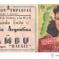 Cine: FOLLETO DE MANO ANTIGUO BAMBÚ IMPERIO ARGENTINA PROGRAMA DE MANO CINE FOLLETO DOBLE JU. Lote 50947922