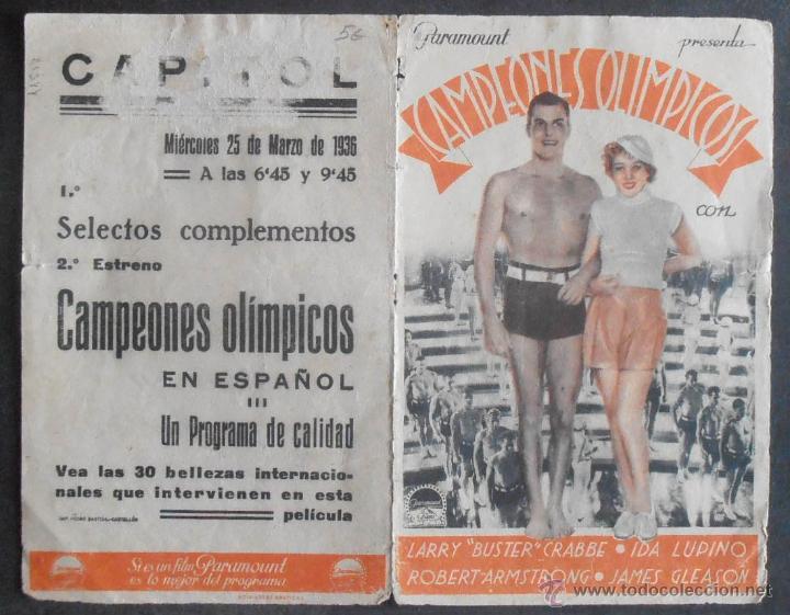 Cine: CAMPEONES OLIMPICOS,FOLLETO DE MANO (11517),CONSERVACION,VER FOTOS - Foto 2 - 50955844