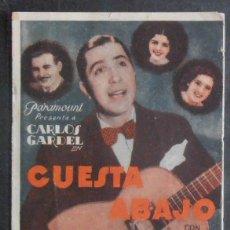 Cine: CUESTA ABAJO,FOLLETO DE MANO (11519),CONSERVACION,VER FOTOS. Lote 50955976