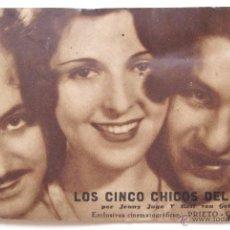 Cine: PROGRAMA TARJETA POSTAL *LOS CINCO CHICOS DEL JAZZ* JENNY HUGO AÑOS 30 DINDURRA GIJON ASTURIAS. Lote 50966585