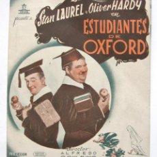 Cine: PROGRAMA DOBLE *ESTUDIANTES DE OXFORD* 1944 LAUREL Y HARDY. CINE MARI LEÓN. Lote 50966670