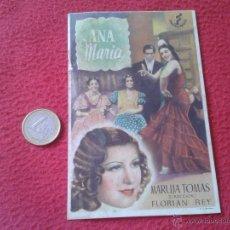 Cine: ANTIGUO FOLLETO PROGRAMA DE CINE DE MANO ANA MARIA MARUJA TOMAS FLORIAN REY IDEAL COLECCION VER DESC. Lote 50973291