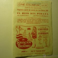 Cine: PROGRAMA LOCAL LA SENSACION DE BROADWAY - ROBERT CUMMINGS--BB. Lote 51038551