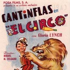 Cine: CANTINFLAS EL CIRCO - PROGRAMA SENCILLO DE COLUMBIA CON PUBLICIDAD, RF-272//5 , PERFECTO ESTADO. Lote 98537775