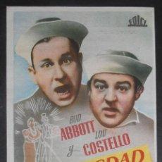 Cine: ABBOTT Y COSTELLO EN SOCIEDAD,FOLLETO DE MANO (9461),CONSERVACION,VER FOTOS. Lote 51104725