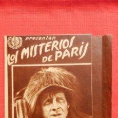 Cine: LOS MISTERIOS DE PARIS, DOBLE PEQUEÑO, EXCTE. ESTADO, CON PUBLICIDAD SALAS REUS 1935. Lote 51110646