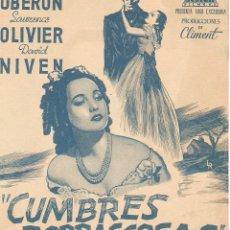 Cine: CUMBRES BORRASCOSAS - MERLE OBERON, LAURENCE OLIVIER, DAVID NIVEN - DIRECTOR WILLIAM WYLER. Lote 51116228