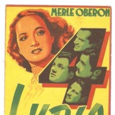 Cine: LYDIA - MERLE OBERON, ALAN MARSHAL, JOSEPH COTEN, HANS YARAY, EDNA MAY OLIVER - ALEXANDER KORDA. Lote 51133583