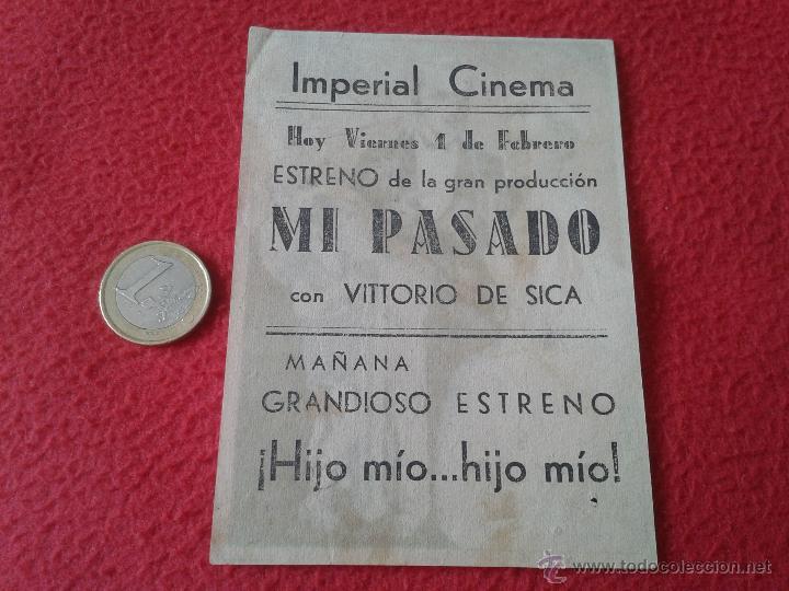 Cine: ANTIGUO ESCASO DIFICIL FOLLETO PROGRAMA MANO PELICULA MI PASADO VITTORIO DE SICA ARAJOL CINE ECIJA I - Foto 2 - 51159794