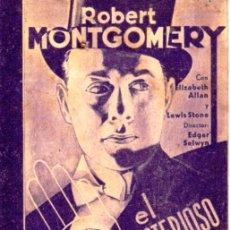 Cine: EL MISTERIOSO SR. X- AÑO 1934 - CARTULINA. Lote 51222864