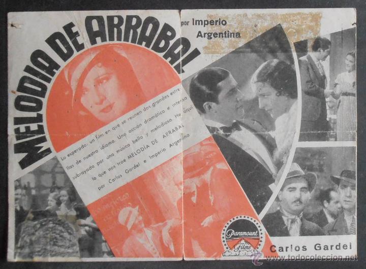 Cine: MELODIA DE ARRABAL,FOLLETO DE MANO,(10957),CONSERVACION,VER FOTOS - Foto 2 - 51246165