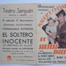 Cine: FOLLETO DE MANO DOBLE-EL SOLTERO INOCENTE-AÑO 1933-MAURICE CHEVALIER. Lote 51253623