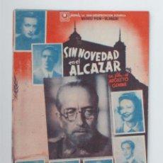 Cine: FOLLETO DE MANO GRANDE-SIN NOVEDAD EN EL ALCAZAR - AÑO 1941. Lote 51254655
