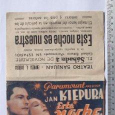 Cine: FOLLETO DE MANO - ESTA NOCHE ES NUESTRA - 1940. Lote 51260776