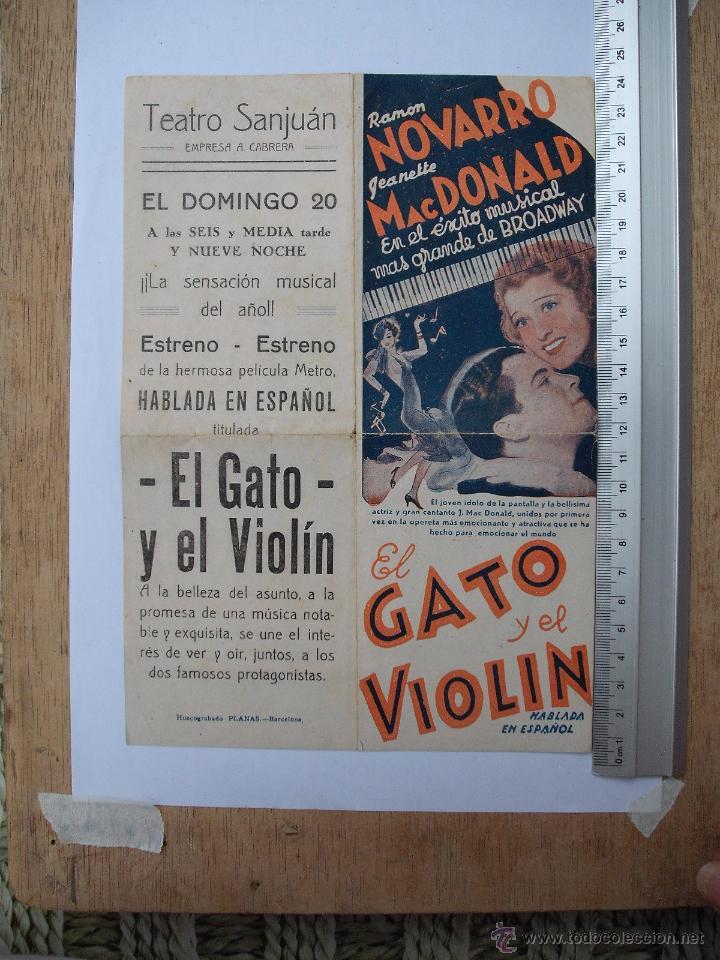 FOLLETO DE MANO DOBLE -EL GATO Y EL VIOLIN-1935 (Cine - Folletos de Mano - Aventura)