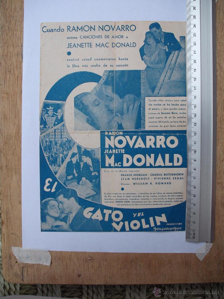 Cine: FOLLETO DE MANO DOBLE -EL GATO Y EL VIOLIN-1935 - Foto 2 - 51317064