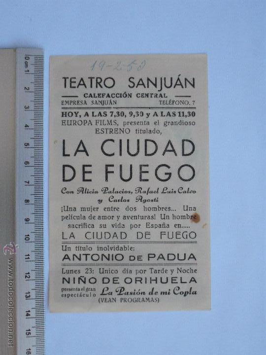 Cine: FOLLETO DE MANO - LA CIUDAD DE FUEGO-1950 - Foto 2 - 51331493