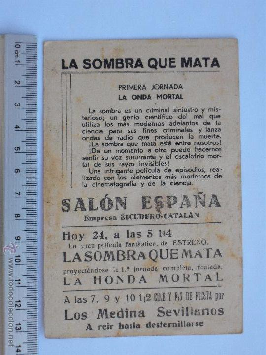 Cine: FOLLETO DE MANO DE CARTON -LA SOMBRA QUE MATA-1933 - Foto 2 - 51332037