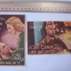 Cine: FOLLETO DE MANO -DOBLE CRIMEN EN LA LINEA MAGINOT-1936. Lote 51354806