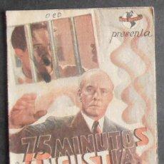 Cine: 75 MINUTOS DE ANGUSTIA,FOLLETO DE MANO,(10986),CONSERVACION,VER FOTOS. Lote 51387507