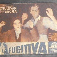Folhetos de mão de filmes antigos de cinema: LA FUGITIVA,FOLLETO DE MANO,(10996),CONSERVACION,VER FOTOS. Lote 51387975