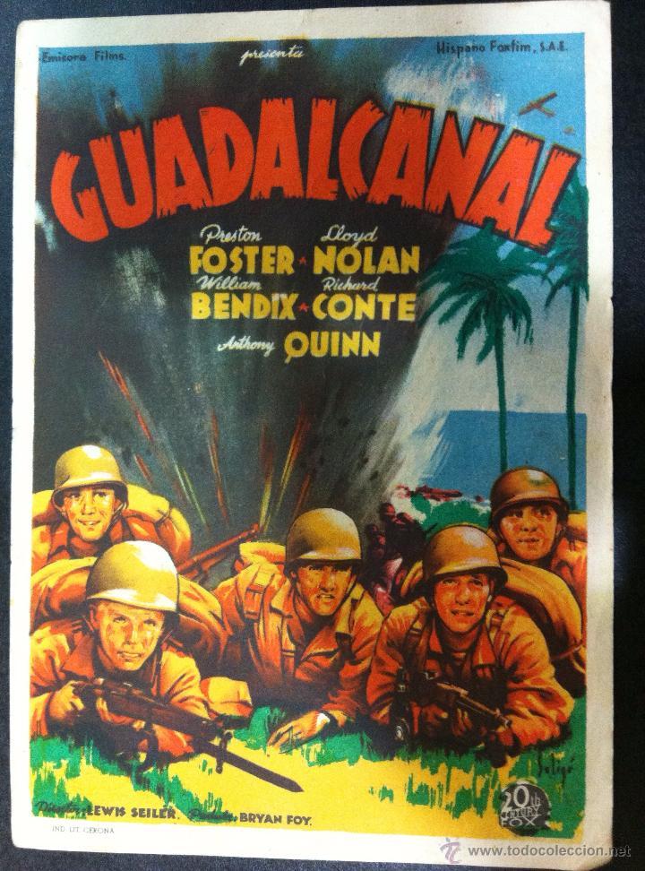 GUADALCANAL - SENCILLO FOX -SALON NOVEDADES 1945 (Cine - Folletos de Mano - Bélicas)